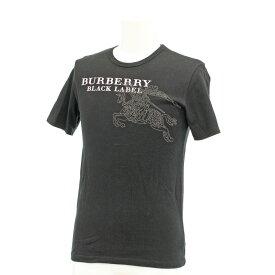 【中古】良好◆BURBERRY BLACK LABEL バーバリーブラックレーベル ホース ロゴプリント 半袖Tシャツ サイズ2◆ 黒/ブラック/メンズ/トップス