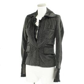 【中古】良好◆JUST CAVALLI ジャストカヴァリ デザインジャケット サイズ38◆ black /黒/ブラック/ベロア/1B/フリル/レディース/アウター