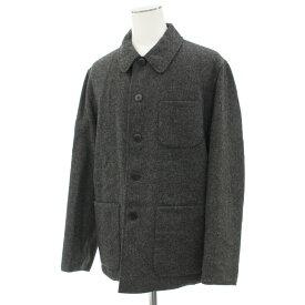 【中古】良好◆agnes b アニエスベー リバーシブルジャケット サイズ2◆ グレー×ブラック/フランス製/ウール/ミドル丈/コットン/メンズ/アウター