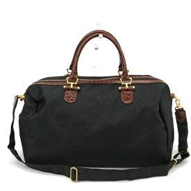【中古】◆BALENCIAGA バレンシアガ BBロゴ 2WAY ボストンバッグ◆ black/黒/ブラック/ヴィンテージ/ナイロン×レザー/旅行/レディース/メンズ/鞄
