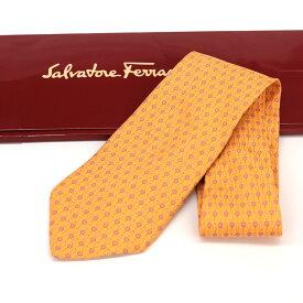 【中古】◆Salvatore Ferragamo サルバトーレフェラガモ 花柄 シルク100% ネクタイ◆ orange /オレンジ/フラワー/ビジネス/スーツ/メンズ/小物