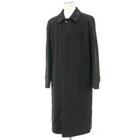 【中古】◆BURBERRY LONDON バーバリー カシミヤ100% ロングコート サイズ48R◆ black /黒/ブラック/無地/ステンカラー/メンズ/アウター