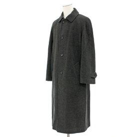 【中古】◆BURBERRY LONDON バーバリー アンゴラ混 ロングコート サイズ48R◆ gray /グレー/チャコール/無地/ウール混/イタリア製/メンズ/アウター