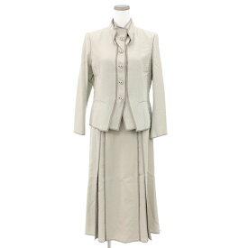 【中古】◆HIROKO BIS ヒロコビス ヒロココシノ ジャケット×スカート セットアップ スーツ サイズ11◆ グレー/セミフォーマル/レディース