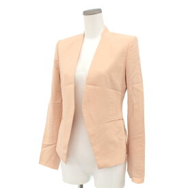 ◆theory セオリー ノーカラージャケット サイズ0◆ salmon pink /サーモンピンク/薄手/フルライニング/レディース/アウター【中古】