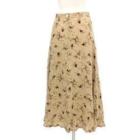 ◆Lois CRAYON ロイスクレヨン シルク100% 花柄スカート サイズM◆ beige /ベージュ/ロング丈/フレアー/レディース/ボトムス