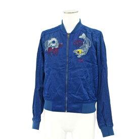 ◆DIESEL ディーゼル スカル刺繍 スカジャン サイズS◆ blue /青/ブルー/ナイロン/ジップアップ/メンズ/アウター【中古】