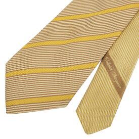 ◆Salvatore Ferragamo フェラガモ レジメンタル柄 シルク100% ネクタイ◆ yellow /黄/イエロー/絹/イタリア製/スーツ/ビジネス/メンズ/男性用/服飾小物【中古】