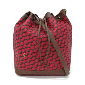 ◆Roberta di Camerino ロベルタディカメリーノ 巾着型 ロングショルダーバッグ◆ 赤/レッド/ロープ柄/PVC/肩掛け/斜め掛け/レディース/鞄【中古】