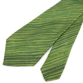◆Salvatore Ferragamo フェラガモ シルク100% ストライプ柄ネクタイ◆ green /緑/グリーン/イタリア製/スーツ/ビジネス/メンズ/男性用/服飾小物【中古】
