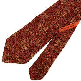 良好◆Salvatore Ferragamo サルヴァトーレフェラガモ リーフ総柄 ネクタイ◆ red /赤/レッド/シルク100%/イタリア製/スーツ/ビジネス/メンズ/服飾小物