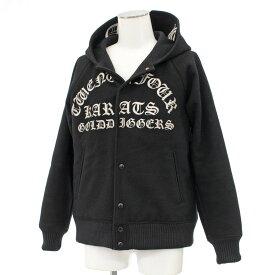◆24karats 24カラッツ スタジャン Lサイズ◆ black /黒/ブラック/パーカー/メルトン/刺繍/フード/裏地キルティング/メンズ/アウター【中古】
