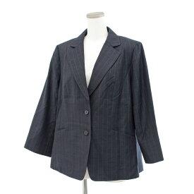 ◆Leilian レリアン 2Bジャケット 大きいサイズ17号◆ navy /紺/ネイビー/エルメネジルドゼニア生地/シルク混ウール/レディース/アウター【中古】