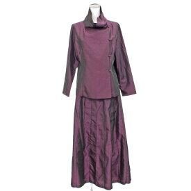 良好◆HIROKO BIS ヒロコビス サテン生地デザインセットアップ ◆ purple /紫/パープル/ロングスカート/ブラウス/光沢/レディース【中古】