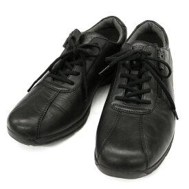 ◆ASAHI Medical Walk アサヒメディカルウォーク レザースニーカー サイズ25.0◆ black /黒/ブラック/オールシーズン/メンズ/シューズ/靴【中古】