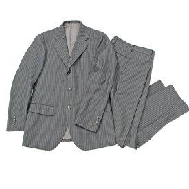 良好◆EDIFICE エディフィス カノニコ生地 ストライプ柄 3Bシングルスーツ サイズ42◆ グレー/ウール100%/日本製/メンズ/セットアップ【中古】