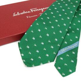 良好◆Salvatore Ferragamo フェラガモ シルク100%/総柄 ネクタイ◆ green /緑/グリーン/スーツ/ビジネスメンズ/男性用/服飾小物【中古】