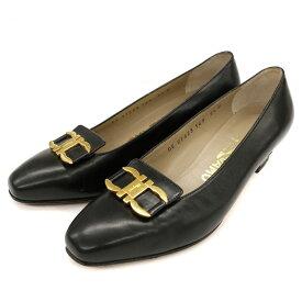 良好◆Salvatore Ferragamo フェラガモ ガンチーニ レザーパンプス サイズ5 1/2D(23相当)◆ black /黒/ブラック/レディース/シューズ/靴【中古】