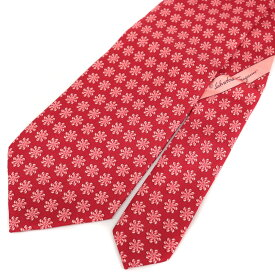 良好◆Salvatore Ferragamo フェラガモ シルク100% 総柄ネクタイ◆ red /赤/レッド/イタリア製/スーツ/ビジネス/メンズ/男性用/服飾小物【中古】