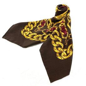 ◆CHANEL シャネル ゴールドチェーンデザイン ヴィンテージ スカーフ◆シルク100%/brown /茶/ブラウン/gold /レディース/服飾小物/KI1004【中古】