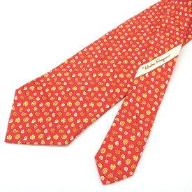 ◆Salvatore Ferragamo サルヴァトーレフェラガモ シルク100% 巻貝柄 ネクタイ◆ orange /オレンジ/ビジネス/スーツ/メンズ/男性用/小物【中古】