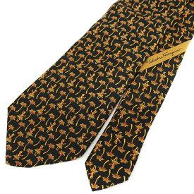 ◆Salvatore Ferragamo フェラガモ シルク100% 総柄ネクタイ◆ black /黒/ブラック/イタリア製/スーツ/ビジネス/メンズ/男性用/服飾小物【中古】
