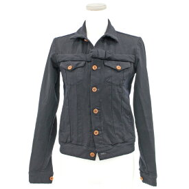 ◆COMME des GARCONS ローブドシャンブルコムデギャルソン デザインジャケット◆ 紺/ネイビー/レディース/アウター/ポリ縮絨/レディース/【中古】