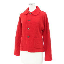 ◆tricot COMME des GARÇONSトリココムデギャルソン ウールジャケット◆ red /赤/レッド/裏地花柄/丸襟/レディース/アウター【中古】