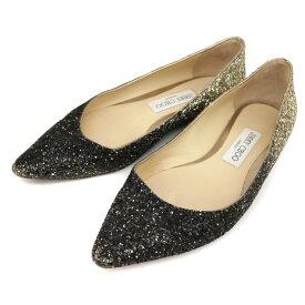 ◆JIMMY CHOO ジミーチュウ グリッター ポインテッドトゥ フラットパンプス サイズ37(24cm相当)◆ black /黒/ブラック/レディース/シューズ/靴【中古】