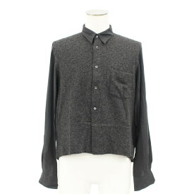 ◆comme des garons shirt コムデギャルソンシャツ 素材切替シャツ サイズS◆ gray/グレー/メンズ/トップス/フランス製/ラムウール混【中古】