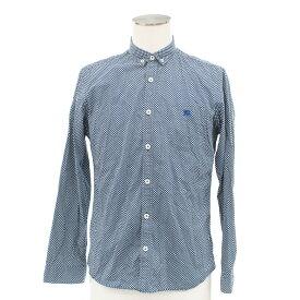 ◆BURBERRY BLACK LABEL バーバリーブラックレーベル ドット柄 長袖BDシャツ サイズ2◆ 青/ブルー/ホース刺繍/メンズ/トップス【中古】
