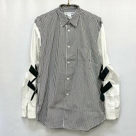 良好◆COMMEdesGARCONS SHIRT コムデギャルソンシャツ ストライプデザインボンテージ長袖シャツ サイズS◆white/白/black/黒/メンズ/KI1004【中古】