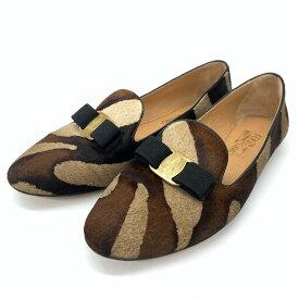 ◆Salvatore Ferragamo サルヴァトーレフェラガモ ハラコ パンプス サイズ8 1/2◆ brown /茶/ブラウン/レディース/フラットシューズ/靴【中古】