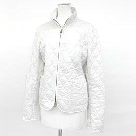 ◆BURBERRY バーバリー キルティングジャケット Lサイズ◆ white /白/ホワイト/裏地チェック柄/スタンドカラー/レディース/アウター【中古】