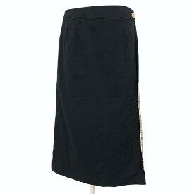 ◆BURBERRY バーバリー ラップスカート サイズ13◆ black /黒/ブラック/裏地チェック柄/巻き/タイト/ひざ丈/レディース/ボトムス【中古】