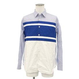 良好◆COMME des GARCONS HOMME コムデギャルソンオム 異素材長袖シャツ サイズS◆ ブルー/blue/メンズ/トップス/AD2017/ストライプ/日本製【中古】