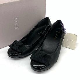 未使用品◆asics GIRO アシックスジーロ レザー リボンパンプス サイズ22◆ black /黒/ブラック/レディース/シューズ/靴【中古】