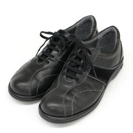 良好◆GIRO pedala ジーロ ペダラ レザースニーカー サイズ22EE◆ black /黒/ブラック/ウォーキング/アシックス/レディース/シューズ/靴【中古】