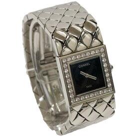 【中古】CHANEL シャネル マトラッセ 腕時計 ダイヤ ベゼル レディース クオーツ スチール