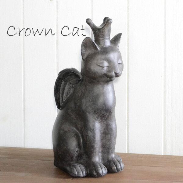 猫の置物 クラウンキャット 猫雑貨 猫柄 アンティーク調 置物 オブジェ cat JWC0580