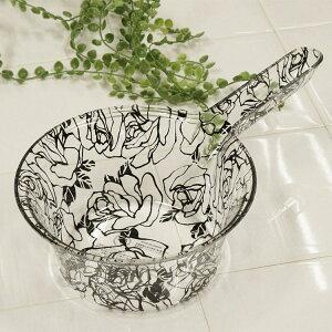 風呂 手桶 アクリル ブラックローズ 持ち手 手おけ 風呂桶 ウォッシュボウル 花柄 バス用品
