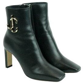 【中古】美品 JIMMY CHOO ジミーチュー ジミーチュウ レザー ブーツ ショートブーツ 22.5cm ブラック 牛革 MINORI 85 CLF 192 イタリア製