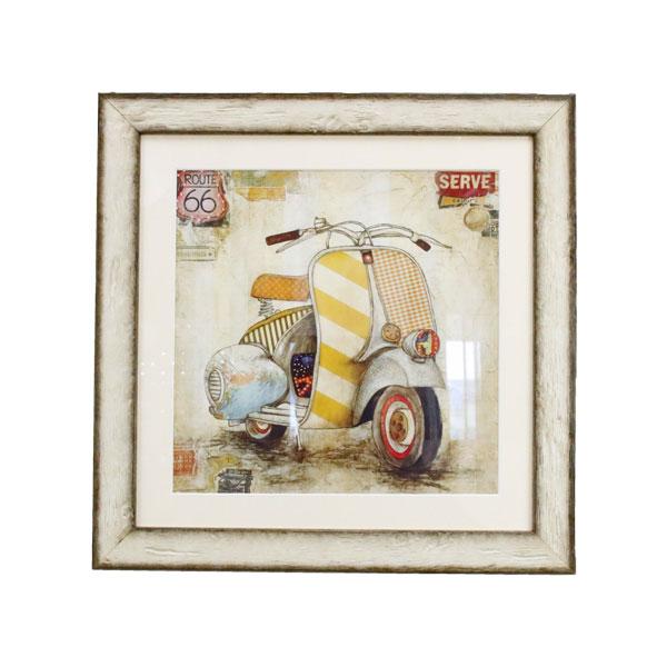 イタリア 額絵 壁飾り おしゃれ バイク 91641 W43×D2×H43cm インテリア イタリア 雑貨