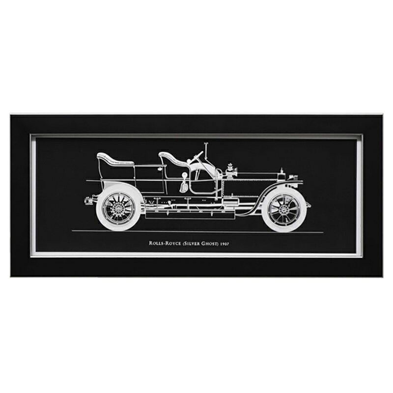 イタリア 額絵 壁飾り おしゃれ ROLLS ROYCE ブラック 91652 W45×D2.5×H20cm