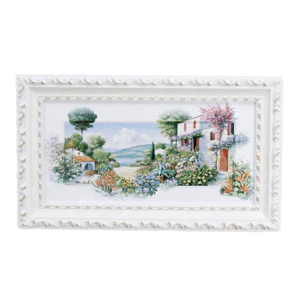 イタリア 額絵 壁飾り おしゃれ 風景画 花柄 上品 横長 91659 W53.5×D3×H31cm インテリア イタリア 雑貨