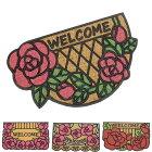 玄関マットコイヤーマットおしゃれ半円四角花柄かわいい薔薇雑貨バラ雑貨レースアラベスク調エントランス