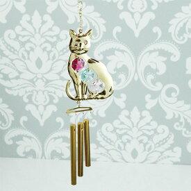 スワロフスキー クリスタル 玄関ベル 猫 ドアベル 1392 ゴールド ネコ ねこ キャット cat