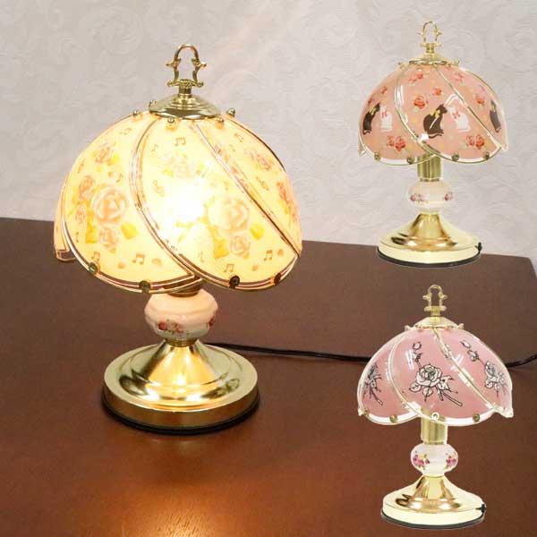 テーブルランプ タッチセンサー 薔薇柄 猫柄 音符 電球E26 Φ23×H35cm コードの長さ約160cm 選べる3種