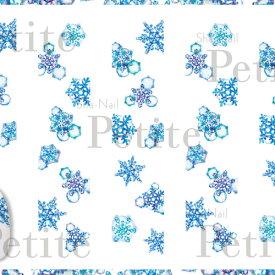 写ネイル Sha Nail 【Petite】Water Colors Snowflakes(Blue)/ウォーターカラー スノーフレーク(ブルー)【メール便(ネコポス)対応】【季節 アート/ネイルシール】 【c&dネイリスト情報 コスメ&ドラッグNY】