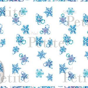 写ネイル Sha Nail 【Petite】Water Colors Snowflakes(Blue)/ウォーターカラー スノーフレーク(ブルー)【メール便(ネコポス)対応】【季節 アート/ネイルシール】 【c&dネイリスト情報 コスメ&ドラッグNY